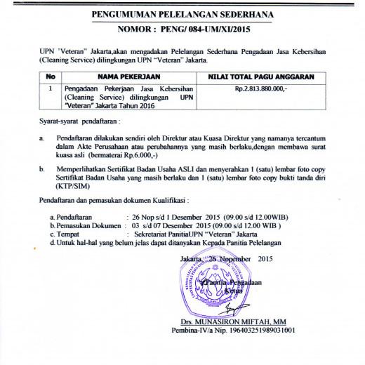 Pengumuman Lelang Sederhana Jasa Kebersihan Upn Veteran Jakarta